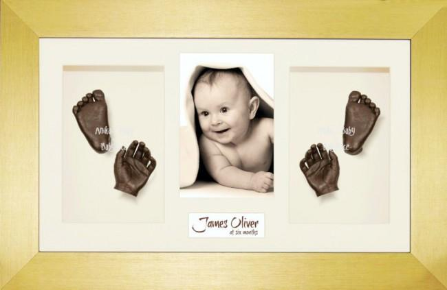 Baby Casting Kit / Gold Frame / Cream Photo Display / Bronze Paint