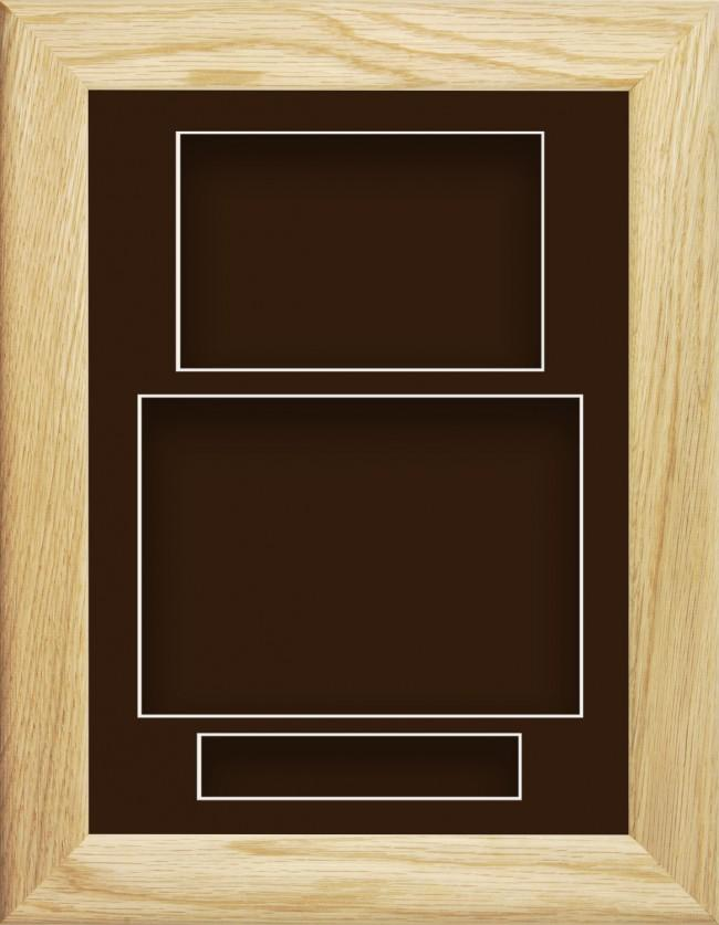11.5x8.5 Solid Oak Wooden Deep Box Display Frame Brown Portrait