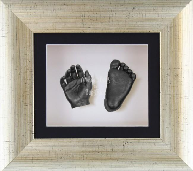 Baby Casting Kit Antique Silver Frame Black White Display Pewter paint