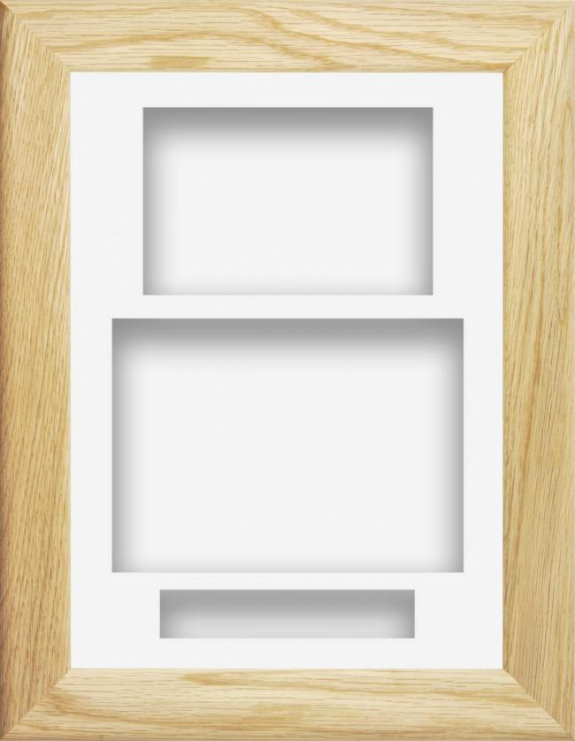 11.5x8.5 Solid Oak Wooden Deep Box Display Frame White Portrait