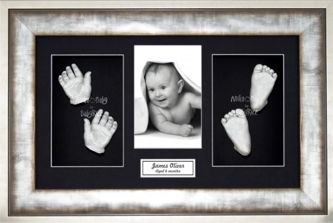 Baby Casting Kit / Metal effect Frame / Black Photo Display / Silver Paint