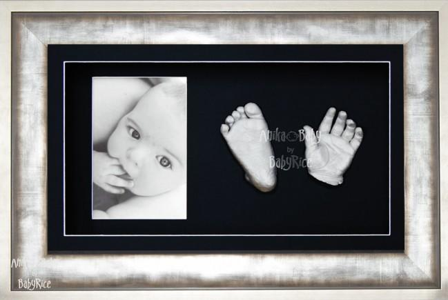 Baby Casting Kit / Metal effect Frame / Black Photo Display / Silver Casts
