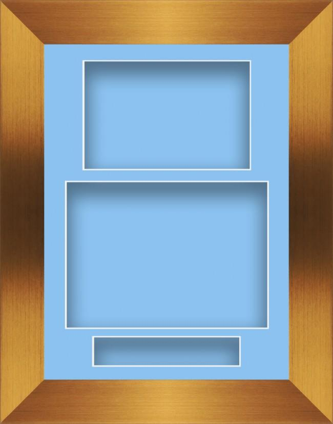 11.5x8.5 Bronze Deep Box Display Frame Blue Portrait