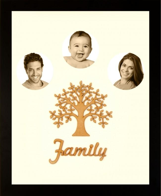 Large Family Photo Tree of Life 3 Picture Frame Black 50x40cm
