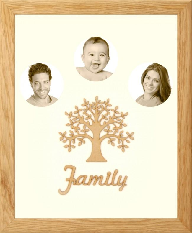 Large Family Photo Tree of Life 3 Picture Frame Solid Oak 50x40cm