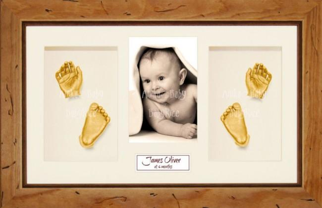 Large or Twins Baby Casting Kit / Rustic Pine Frame / Gold Paint