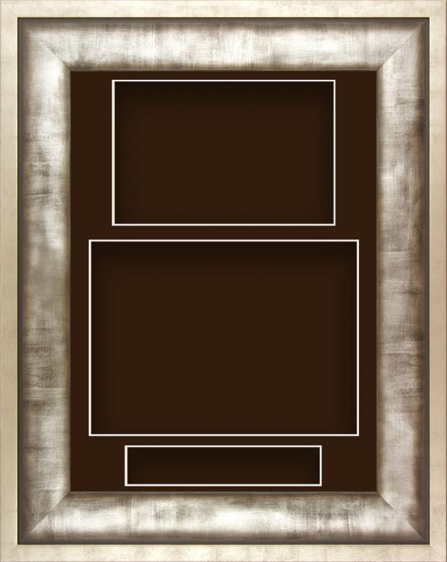 12x9 Urban Silver Pewter Grey Deep Display Frame Brown Portrait