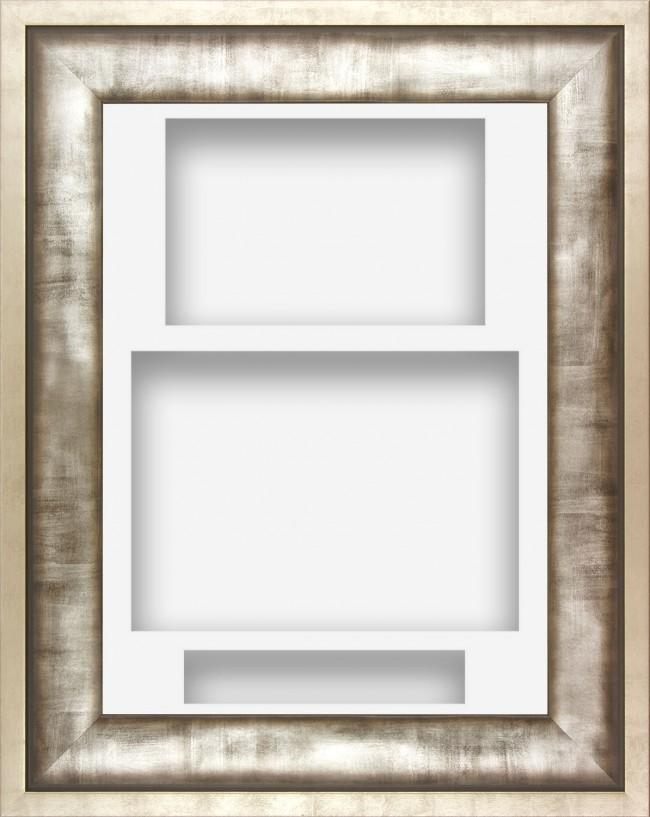 12x9 Urban Silver Pewter Grey Deep Display Frame White Portrait