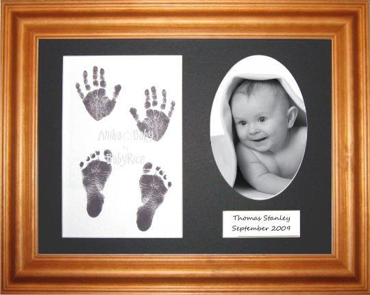 Baby Handprint Footprint Inkless wipe / Honey Pine Frame / Black