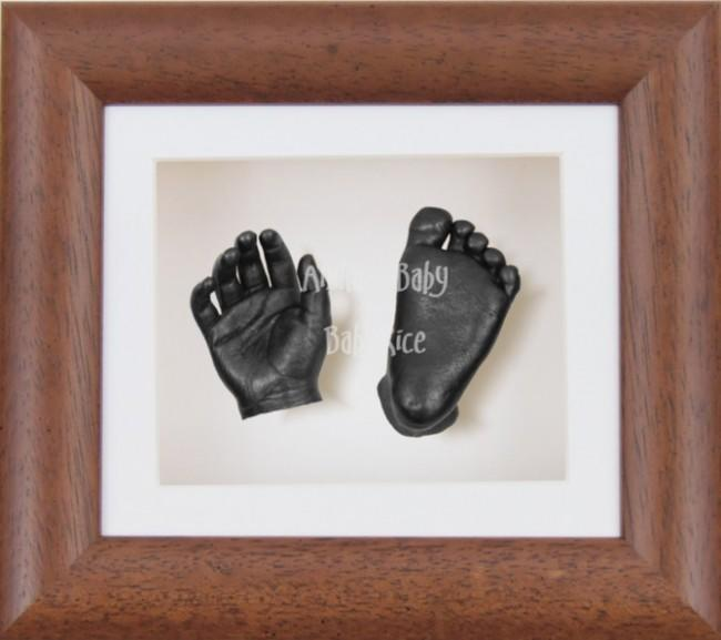 Baby Casting Kit Dark Wood Effect Frame White Display Pewter paint