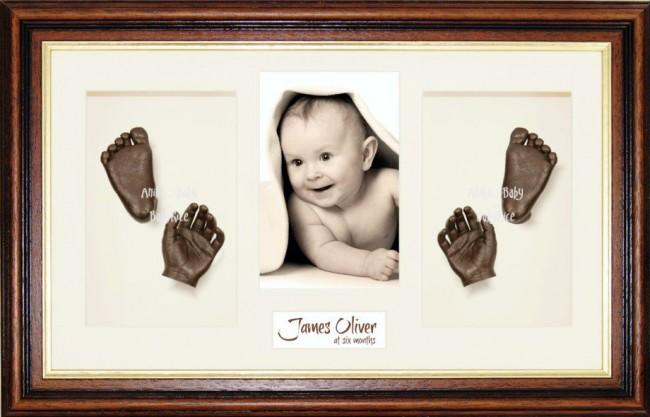 Handprint Footprint Casting, Large Mahogany Gold Frame, Bronze Paint