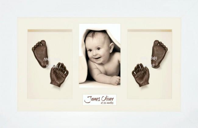 Baby Hand Foot 3D Prints Casting Kit Gift Set White Frame, Bronze