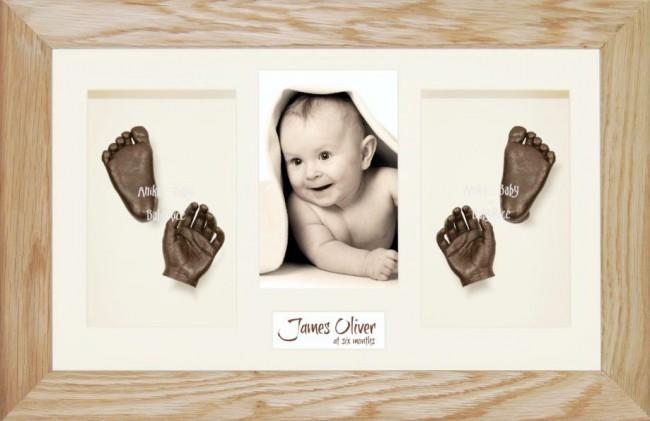 Solid Oak Wooden Frame, Baby Casting Kit Keepsakes, Bronze Casts