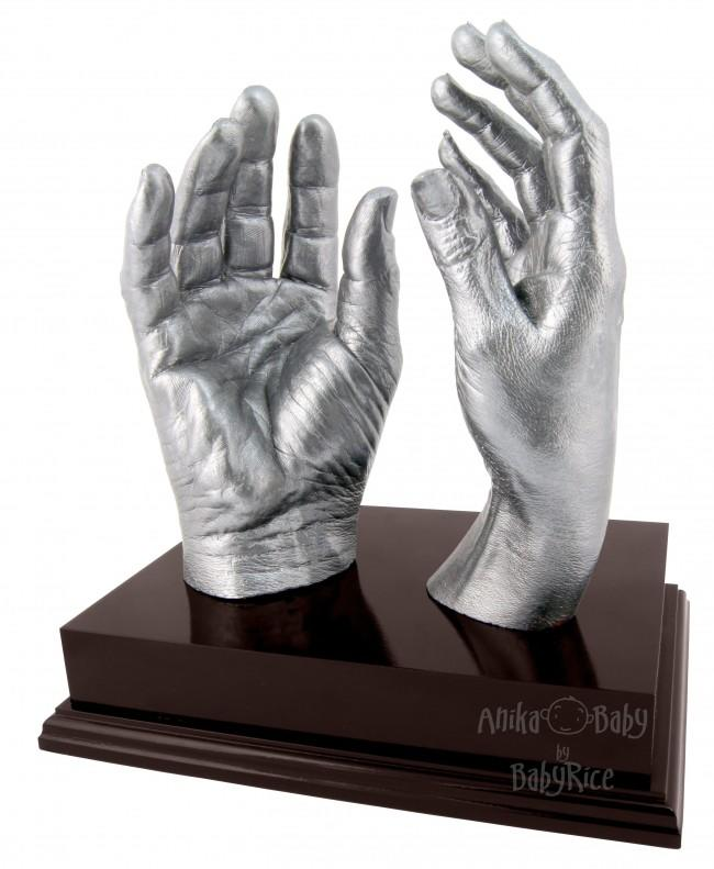 "Adult Hands Casting Kit with Mahogany Display Plinth 8x6"" – Silver"