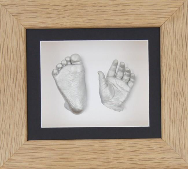 Baby Casting Kit Solid Oak Frame Black White backing Silver paint