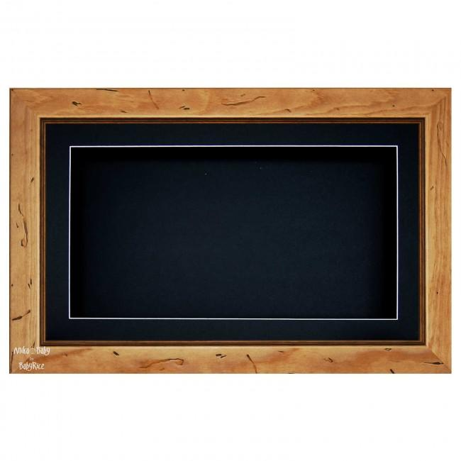 "15x9"" Wooden Shadow Box Deep Frame, Rustic Wood, Black"