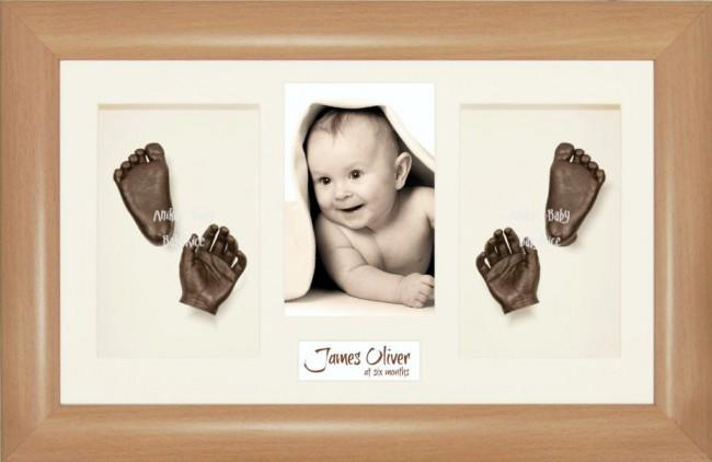 3D Baby Hand Foot Cast Kit, Beech effect Frame, Bronze Casting