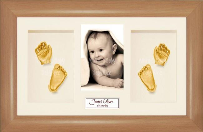 3D Baby Hand Foot Cast Kit, Beech effect Frame, Gold Casting