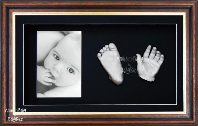 Handprint Footprint Casting, Large Mahogany Gold Frame, Silver Casts
