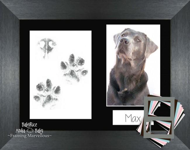 Pet Paw Prints Kit with Brushed Pewter Wooden Frame