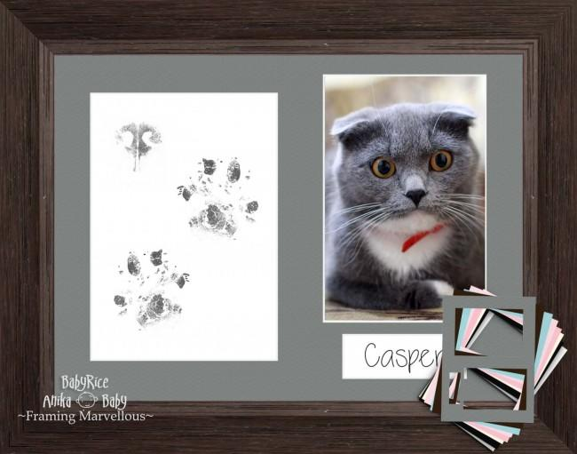 Cat Pet Paw Prints Kit with Coastal Dark Brown Frame - Choose Mount Colour