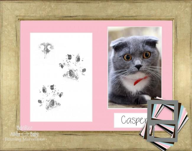 Cat Pet Paw Prints Kit with Champagne Wooden Frame - Choose Mount Colour
