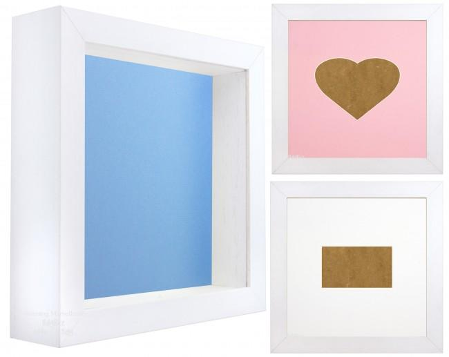 White Shadow Box Deep Display 3D Wooden Frame Square Heart  - Choose Size