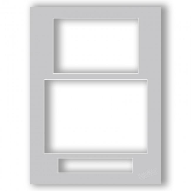 Three Aperture Picture Frame Mount 12x9 Inches (Portrait) - Slate Grey