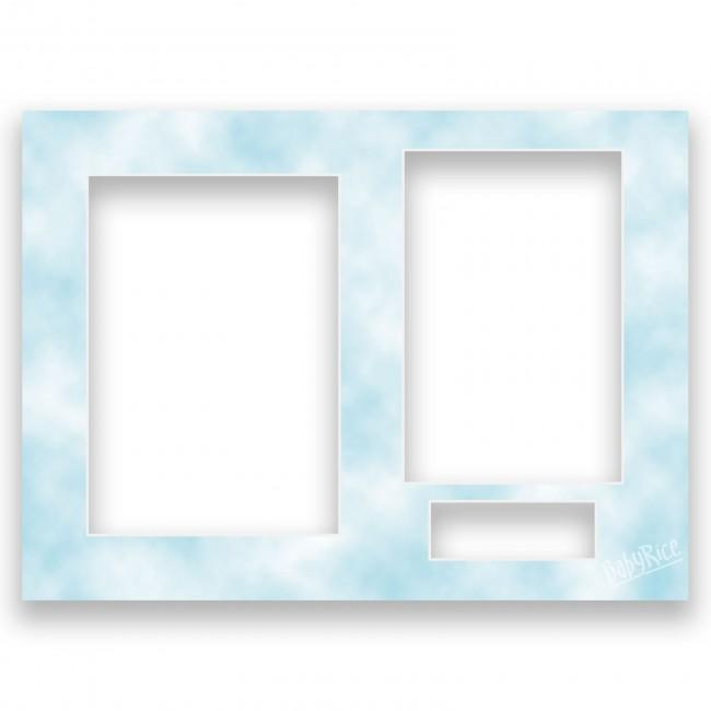Three Aperture Picture Frame Mount & Backing Card 12x9 Inches - Cloudy Blue
