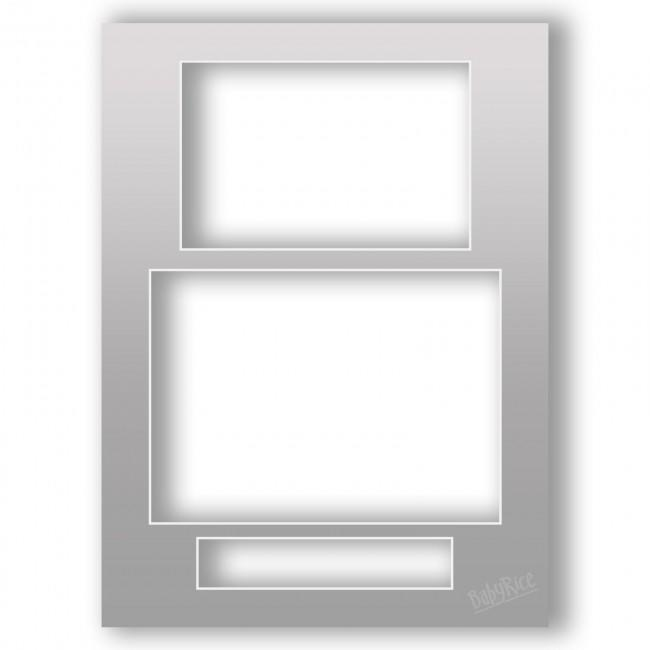 Three Aperture Picture Frame Mount 12x9 Inches (Portrait) - Silver Penny