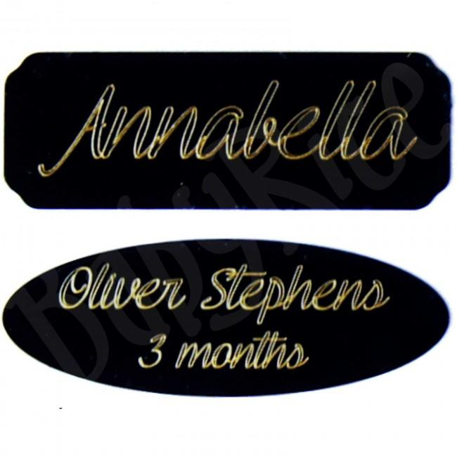 "Black Plaque, 65x23mm / 2.5x0.9"" inch – Choose Oval or Rectangle, Engraved, Blank"
