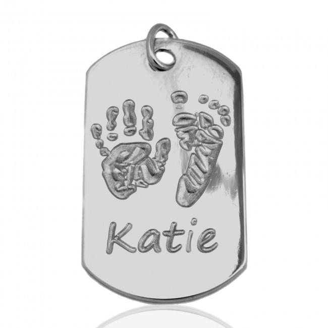 Sterling Silver Dogtag Baby Handprint Footprint Name Non-Oxi