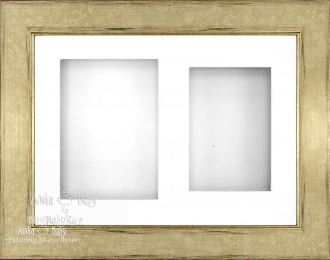 "11.5x8.5"" Champagne 3D Deep Box Frame White 2 Mount Display"