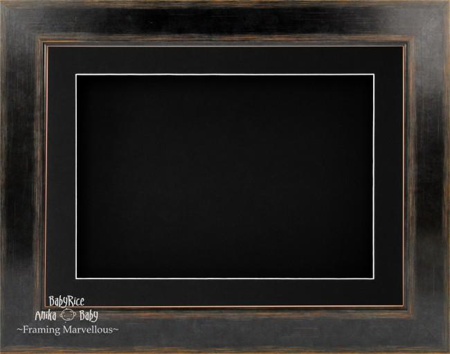 "11.5x8.5"" Black Orange 3D Deep Box Display Frame Black Mount"
