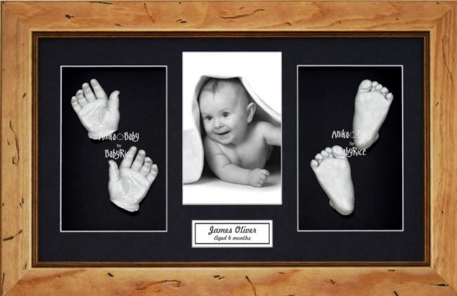 Large or Twins Baby Casting Kit / Rustic Pine Frame / Silver Paint