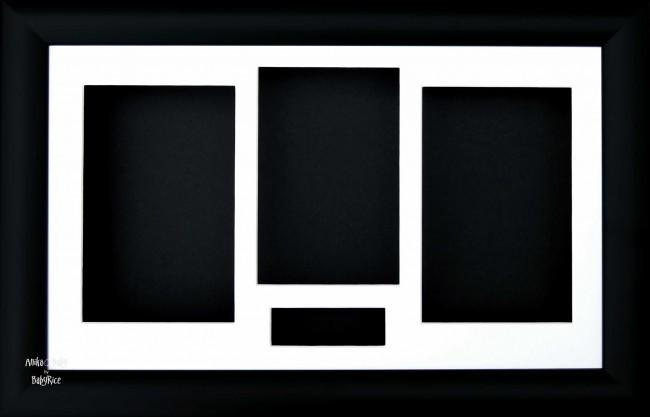 "15x9"" Black 3D Shadow Box Display Frame / White Inserts"