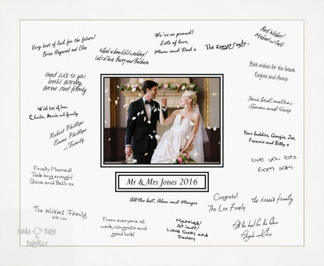 Large 50x40cm Wedding Guest Signing Signature Board White Frame – Choose Layout