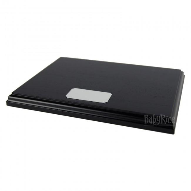 Black Display Plinth 8x6'' & Blank Silver Plaque