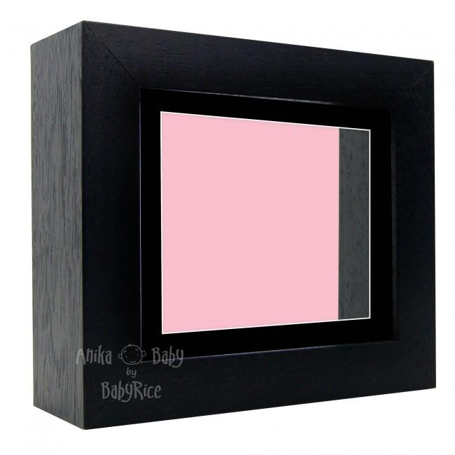 "Deluxe Black Deep Box Frame 6x5"" with Black Mount and Pink Backing"