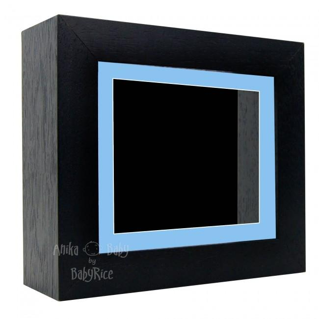 "Deluxe Black Deep Box Frame 6x5"" with Blue Mount and Black Backing"