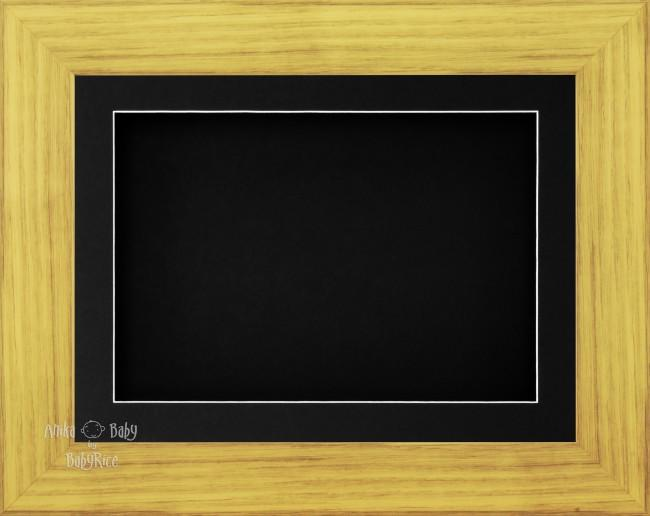 "11.5x8.5"" Oak Effect 3D Display Frame 1 Hole Black Mount Black Back"