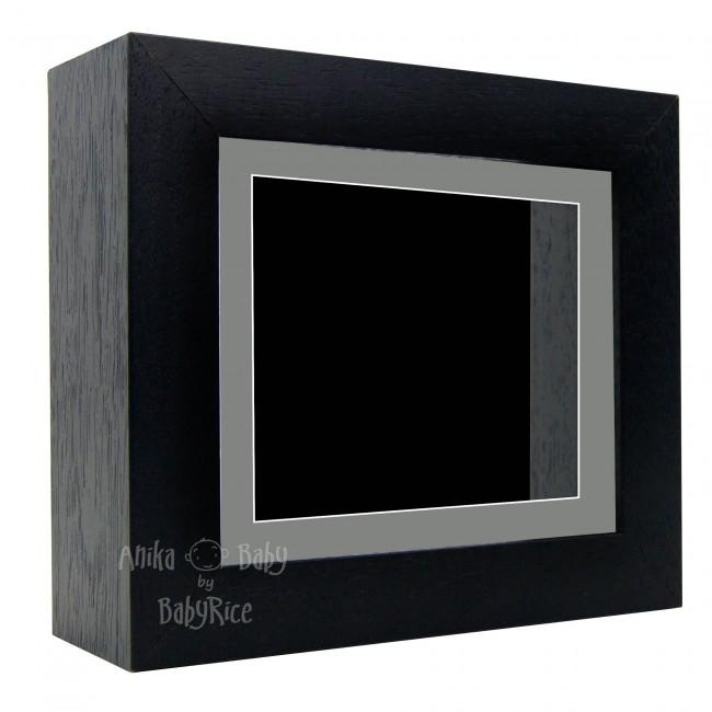 "Deluxe Black Deep Box Frame 6x5"" with Grey Mount and Black Backing"