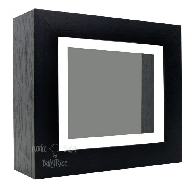 "Deluxe Black Deep Box Frame 6x5"" with White Mount and Grey Backing"