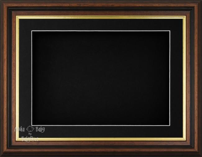 "11.5x8.5"" Mahogany Gold Effect 3D Display Frame 1 Hole Black Mount Black Back"