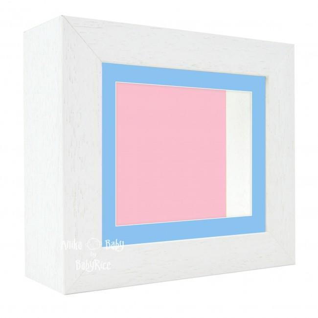 "Deluxe White Deep Box Frame 6x5"" with Blue Mount and Pink Backing"