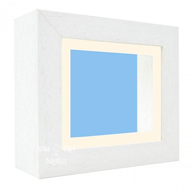"Deluxe White Deep Box Frame 6x5"" with Cream Mount and Blue Backing"