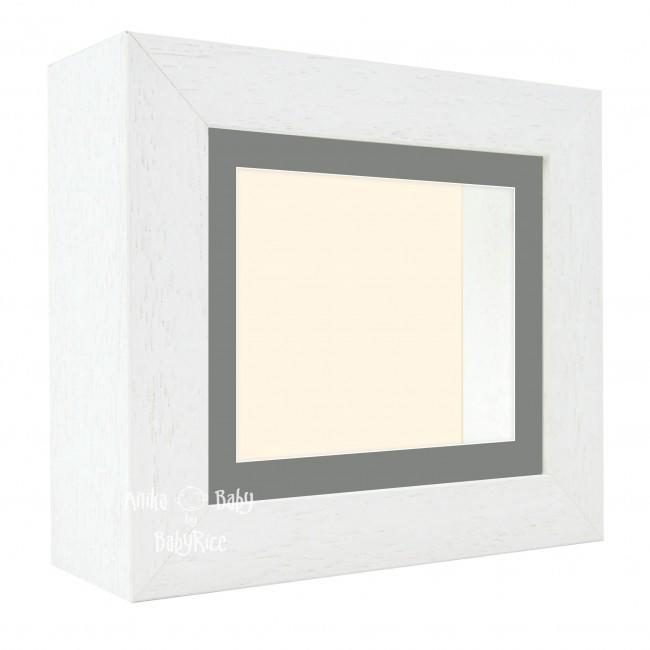 "Deluxe White Deep Box Frame 6x5"" with Grey Mount and Cream Backing"