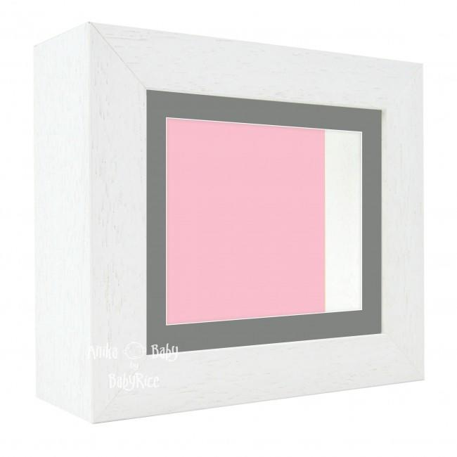 "Deluxe White Deep Box Frame 6x5"" with Grey Mount and Pink Backing"