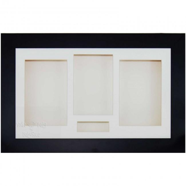 "15x9"" Black 3D Shadow Box Display Frame / Cream"