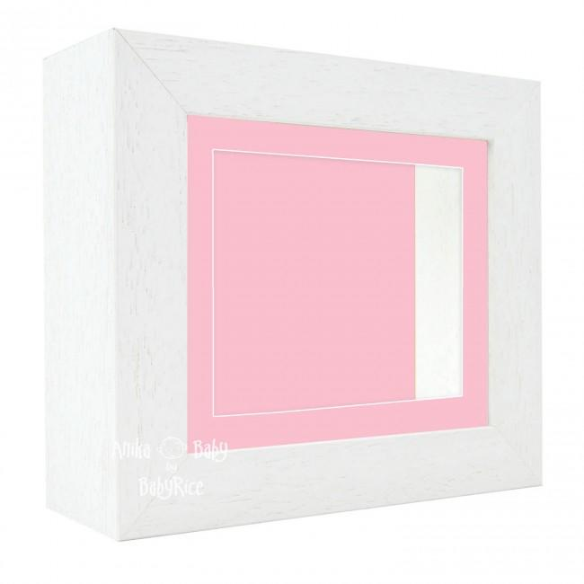 "Deluxe White Deep Box Frame 6x5"" with Pink Mount and Backing"